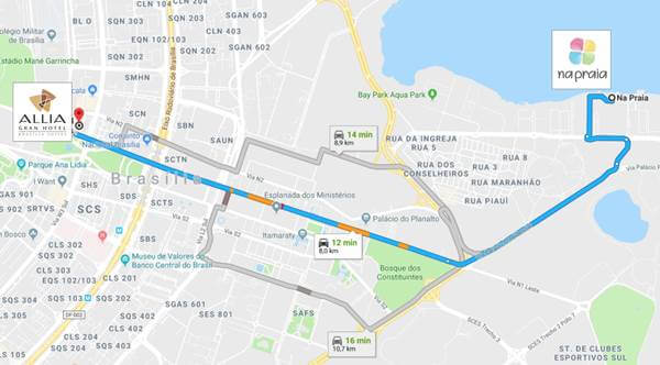 Distância entre o Allia Gran Hotel Brasília e o #NaPraia