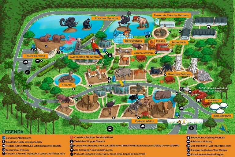 Mapa da Zoo de Brasília
